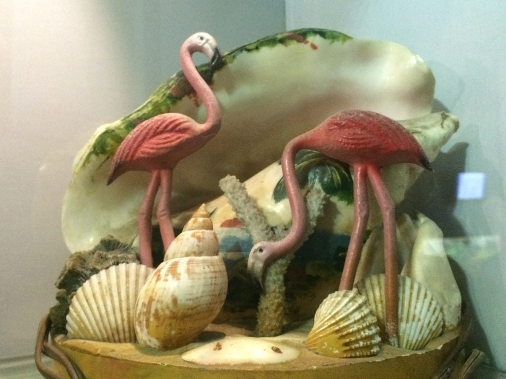 Beautiful artefacts made out of sea shells displayed at the Taraporewala aquarium.