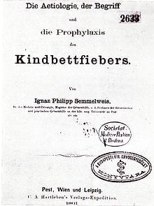 Front page of Semmelweiss' main work