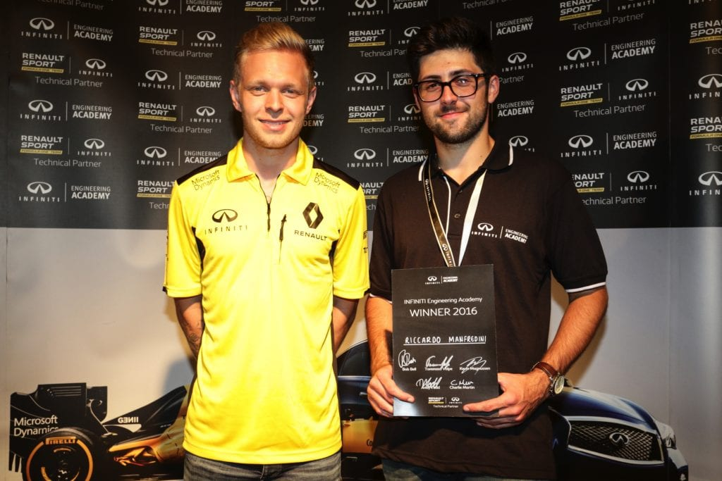 INFINITI Engineering Academy 2016 winner - Renault F1 driver, Kevin Magnussen, presents the 2016 winner, Ricardo Manfredini, with his prize