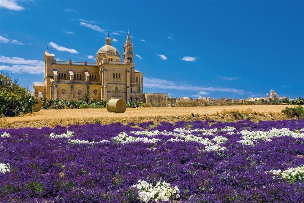The Gharb Parish Church in Gozo in all its spring splendour.