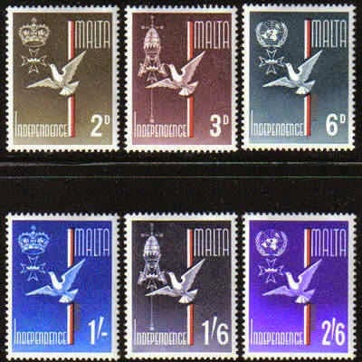 Independence postage stamp set issue. Malta now independent - but the British Crown still there.