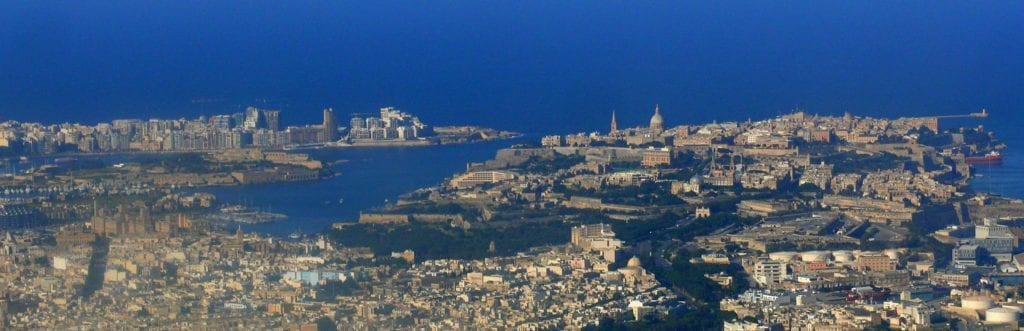 The view from Valletta to Sliema, continuous ribbon development with Tigne' Point in the distance - previously an open space.