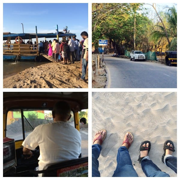 Top left- People boarding ferry at Marve beach (Malad), Top right- Manori jetty, Bottom left- Enjoying the autorikshaw ride through the Manori village Bottom right- Reached Manori beach.
