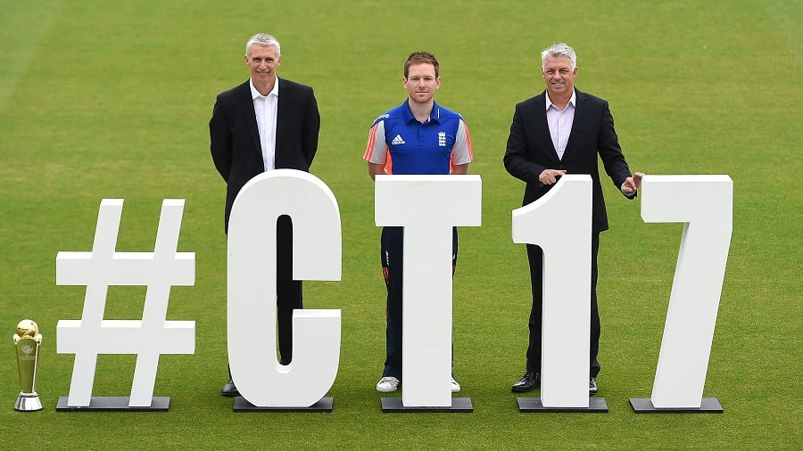 Easy-hashtag-to-remember LONDON, ENGLAND - JUNE 01:  (L-R) Steve Elworthy, ECB Director Global Events, Eoin Morgan, England's ODI Captain and David Richardson, ICC Chief Executive pose for photographs during the ICC Champions Trophy 2017 Launch at The Kia Oval on June 1, 2016 in London, England. (Photo by Tom Dulat/Getty Images)