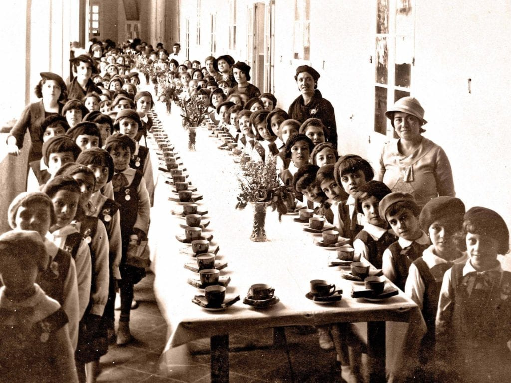 Hamrun Girls' Primary School in 1954 and a British-style tea-party. Smart teachers, smart girls.