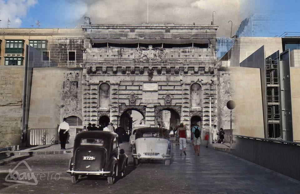 The entrance to Valletta then named Kingsgate, all gone now.