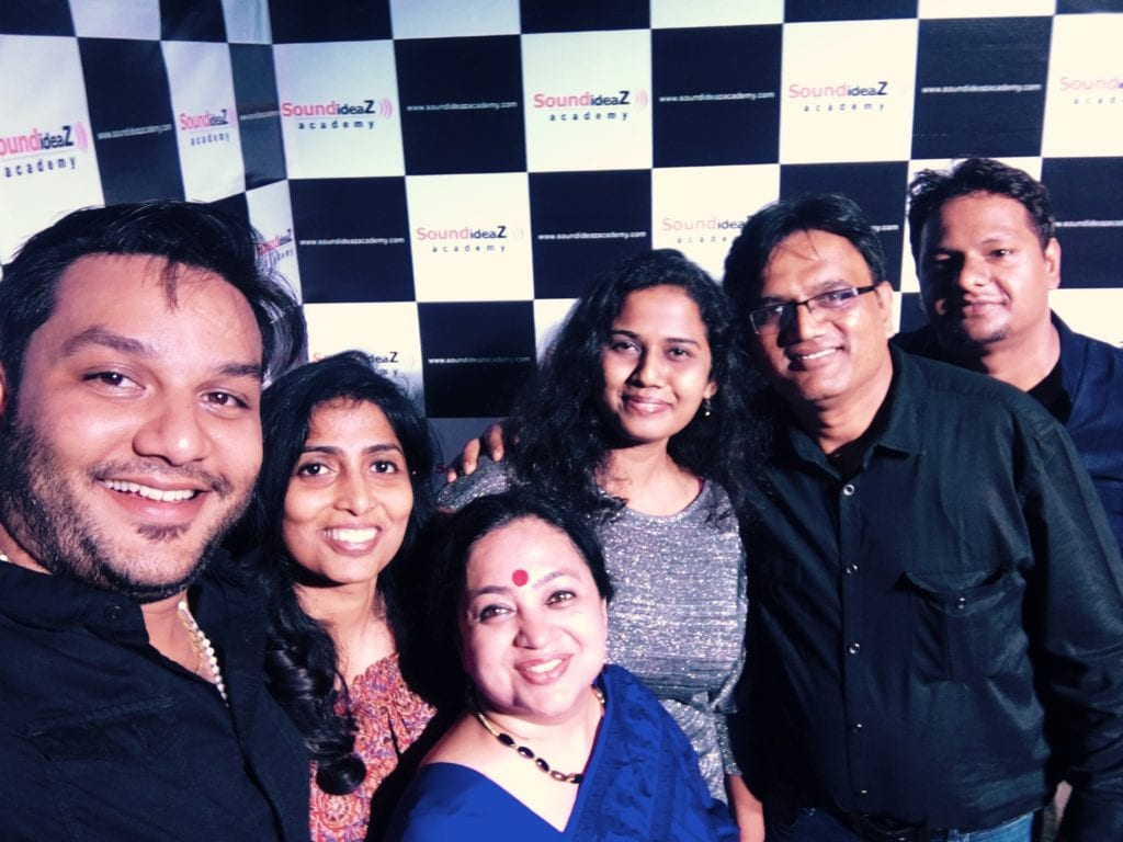 The Sound Ideaz Academy family: (L-R) Shane, Shraddha, Anjuman, Jaishwaree, Pramod Chandorkar (Founder-Director), Dhiren.