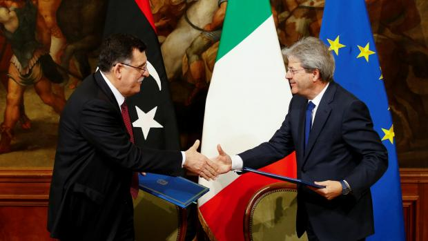 Italian-PM-Paolo-Gentiloni-meets-and-agrees-with-Libyan-counterpart-Fayez-al-Sarraj.