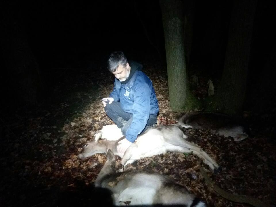 Upset Trevor Weeks with the three dead deer (1)