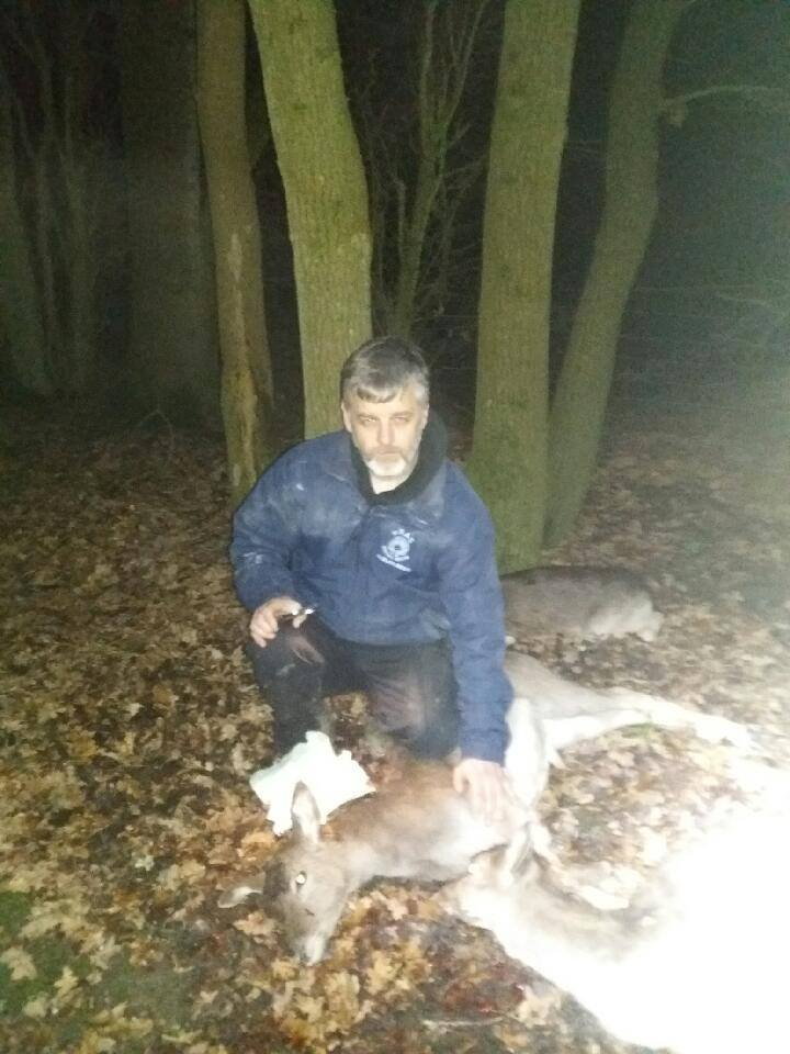 Upset Trevor Weeks with the three dead deer (3)