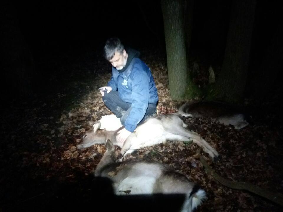 Upset Trevor Weeks with the three dead deer
