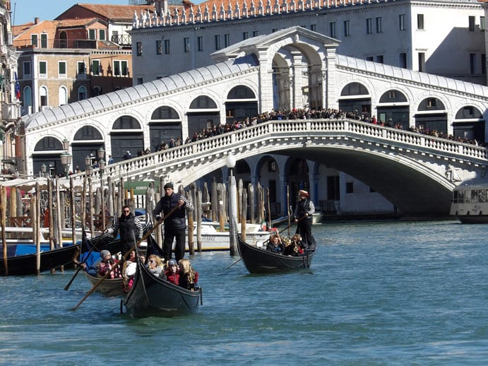 Gondolas at the Rialto Bridge