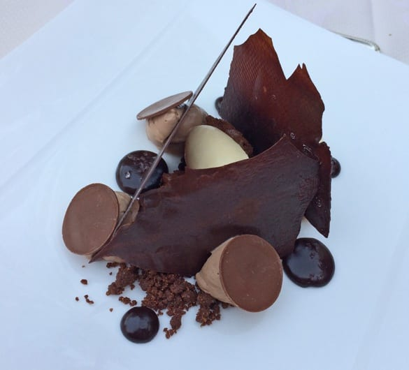 Sophisticated chocolate dessert at Orangerie du Chateau