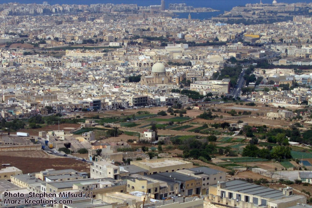 MalDia An aerial view of the village of Qormi now one of Maltas most populated towns