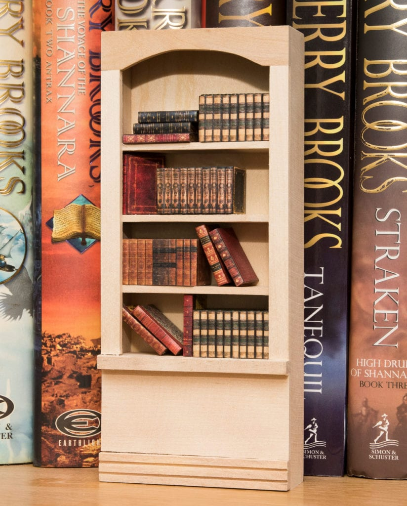 Pic Books and bookcase by Ellie de Lacy Miniatures