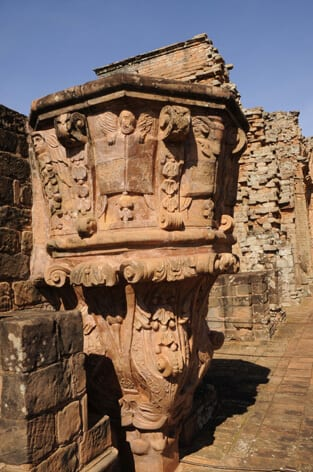 Carved stone pulpit of Trinidad mission