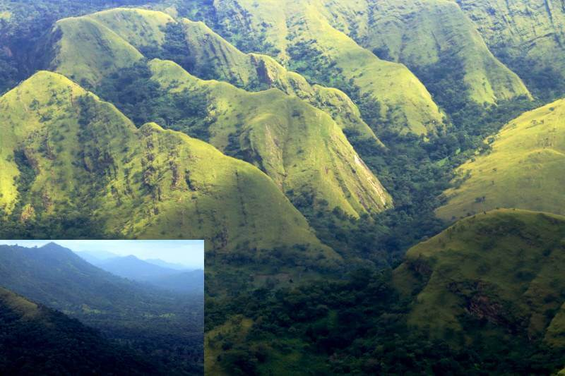 The vibrantly green hills around Wli and the hills above Liati Wote Ghana