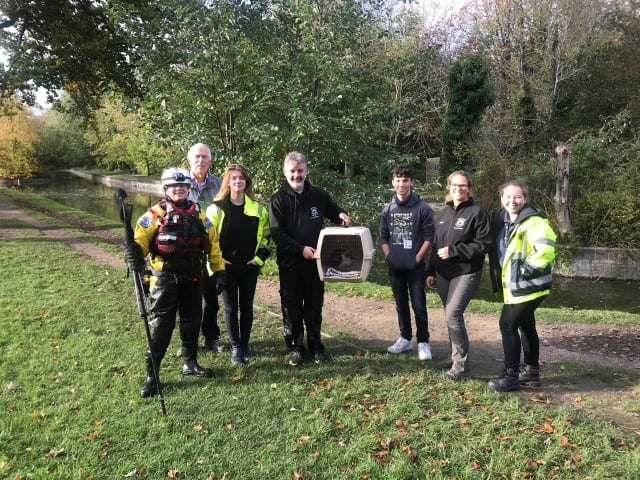 RSPCA WRAS Rescue Team with Duck