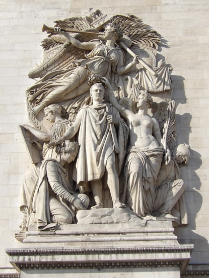Napoleon Emperors statue on the Arc de Triomphe