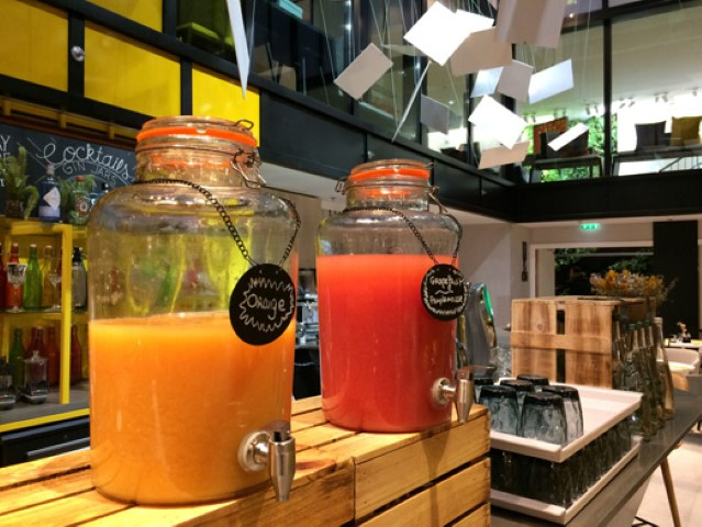Tempting fruit juices at the bar