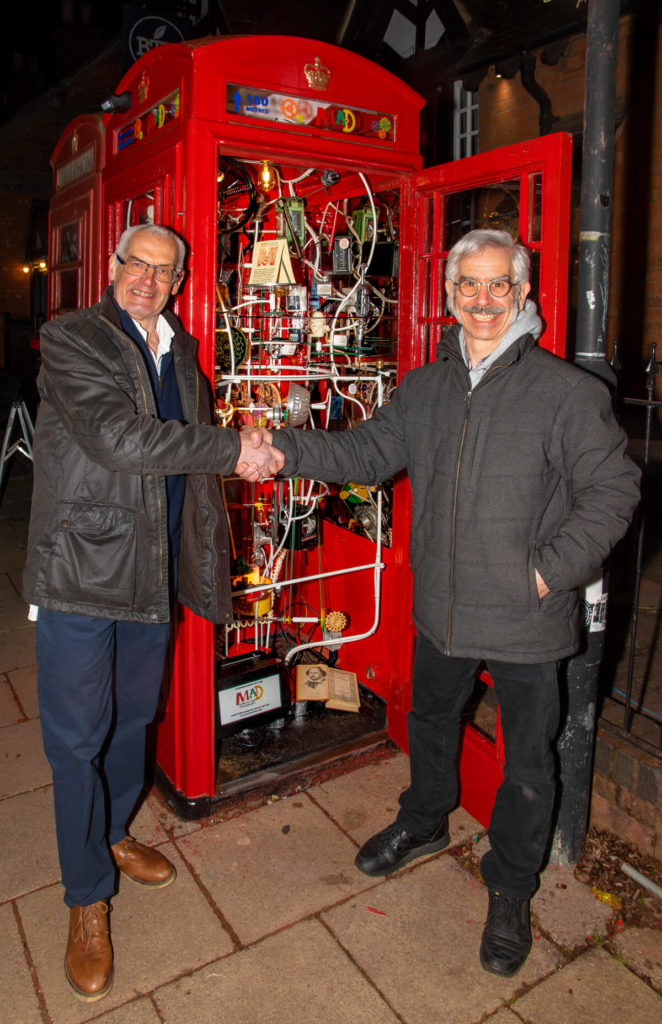 Pic MAD Museum founder Richard Simmons and Swiss kinetic sculptor Pascal Bettex