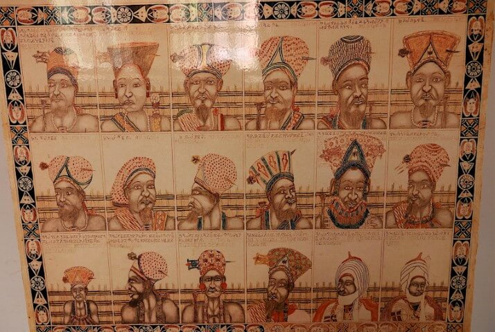 Panel presenting the Bamun Kings except the last two
