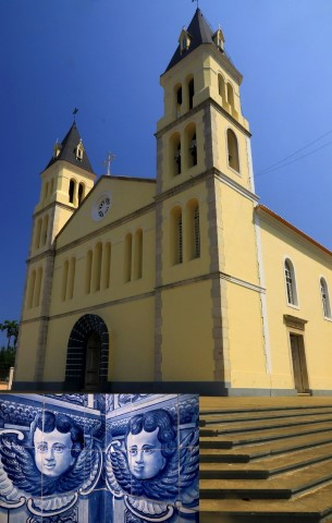 The Portuguese cathedral of Santa Se and blue tiled cherubs