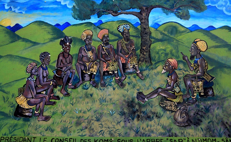 The King with his seven councillors under the sacred tree