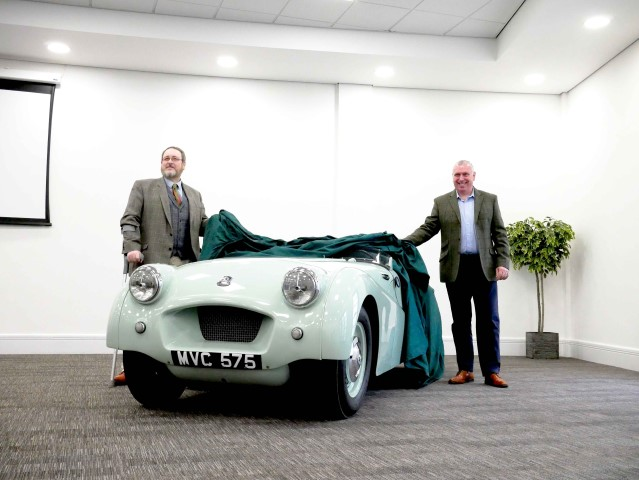 Pic TR Prototype with Kevin Timms Chairman of the BMIHT and David Stocker Trustee of the NHMF
