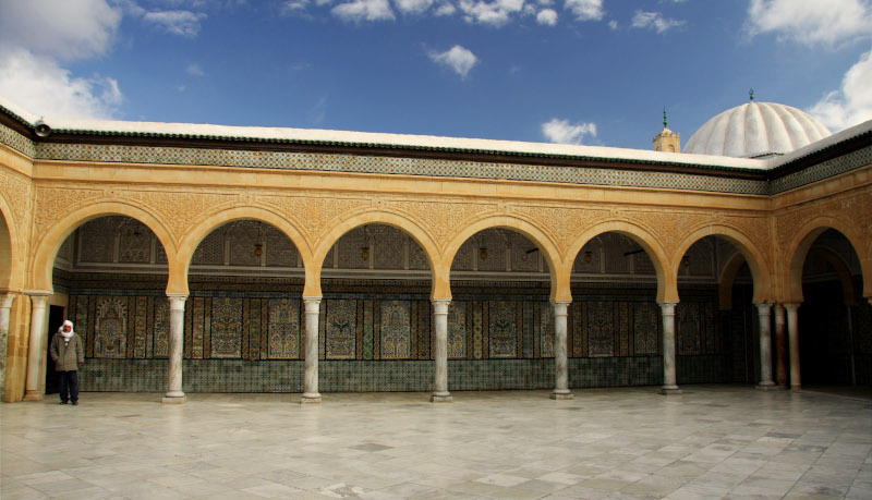 The intricate courtyard at the Mosque of the Barber Kairouan Tunisia