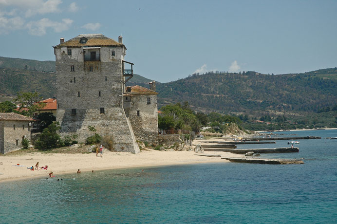 The tower of Ouranopolis at Mount Athos border