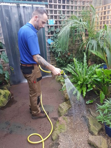 Pic Horticulturalist Richard Read watering the farm