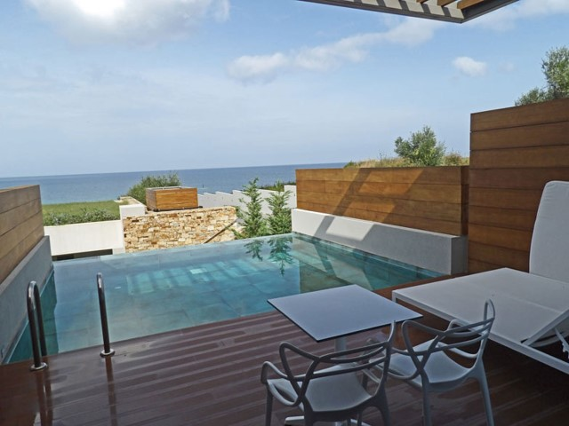 The private swimming pool and terrace of our room
