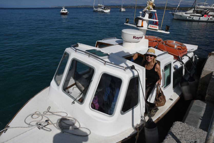 Boarding the taxi boat to sail to Spetes