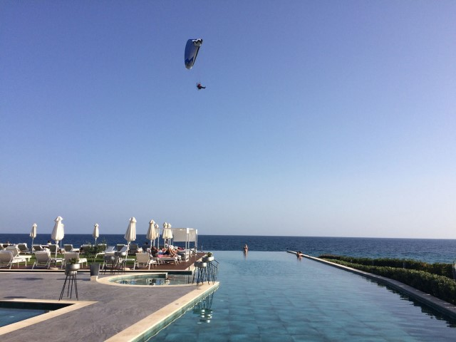 Flying over the Lesante Blue swimming pool