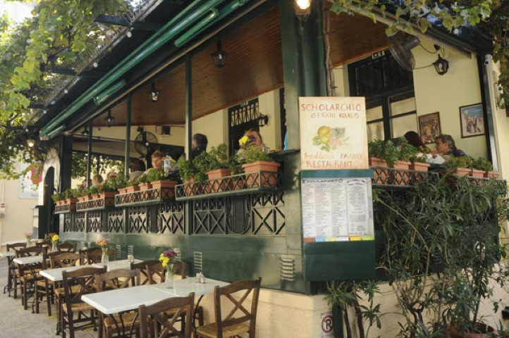 The charming terrace of Scholarchio restaurant in Plaka