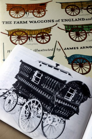 Farm wagon book and an open illustration of a gypsy cart