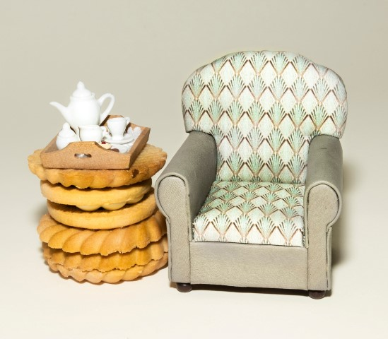 Pic Armchair by Arlettes Miniatures tea tray by Country Contrasts