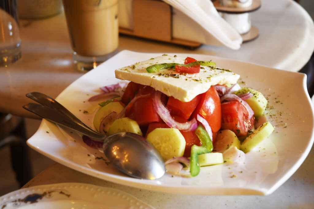 Enjoy a traditional Greek salad in a Pangrati district restaurant