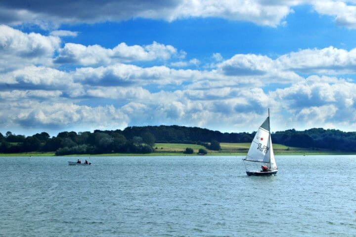 Taking to a boat on Bewl Reservoir