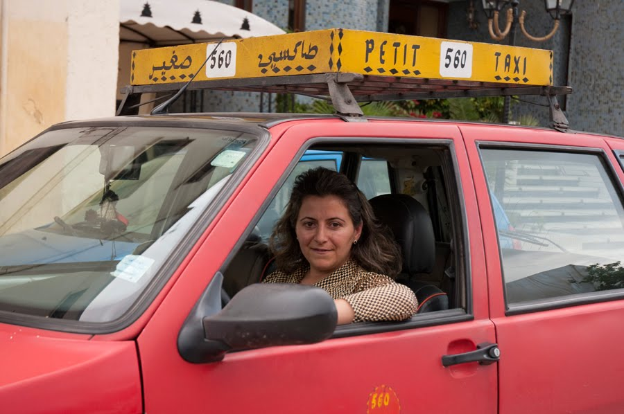 Fist woman taxi driver in Fez Morocco