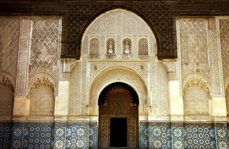 Zellij tiles and stucco plastering in the Ben Youssef Medersa
