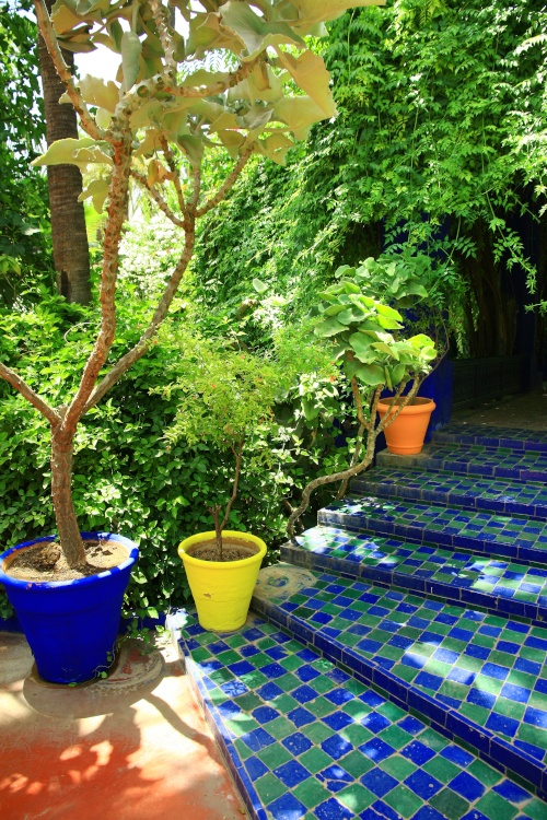 Blue and green tiled steps a striking feature of Le Jardin Majorelle