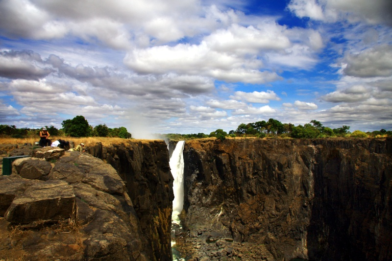The isolated Main Falls seen from the emptiness of the Horeshoe Falls Zimbabwe