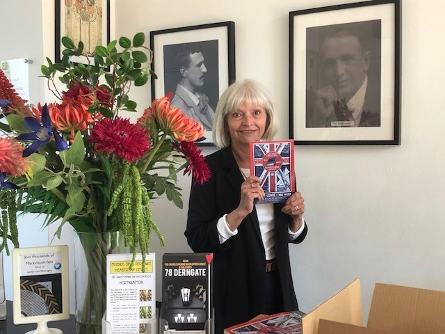 Pic-10.-Christine-Sanderson-with-her-latest-book-Bassett-Lowke-War-Work.-Pic-courtesy-of-78-Derngate.