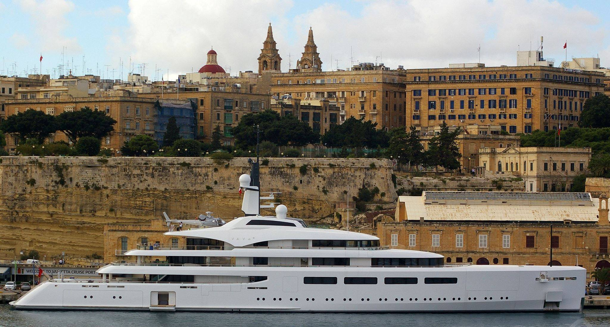 MalDia 01 (21-01-15) The ultimate status symbol! Britain's richest woman Kirsty Bertarelli's £100 million super yacht Vava II in Malta's Grand Harbour