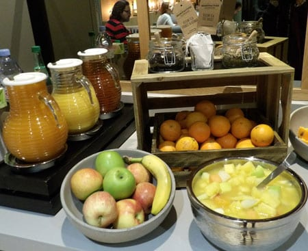 Fresh fruits eggs and juices