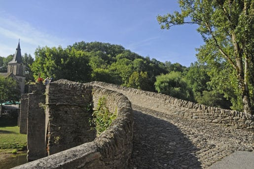Belcastel Middle Ages cobblestone bridge