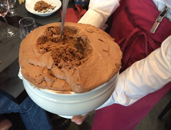 Impressive chocolate mousse jar at Scaramouche restaurant in Senlis