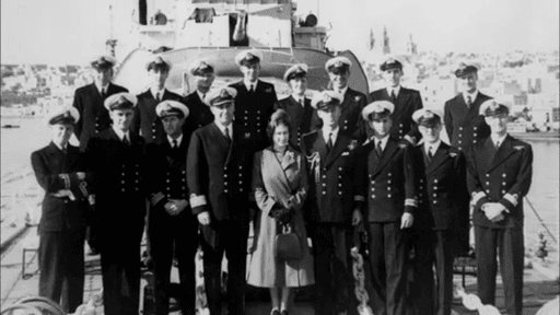 MalDia Princess Elizabeth with Prince Philip and the Officers of his ships crew
